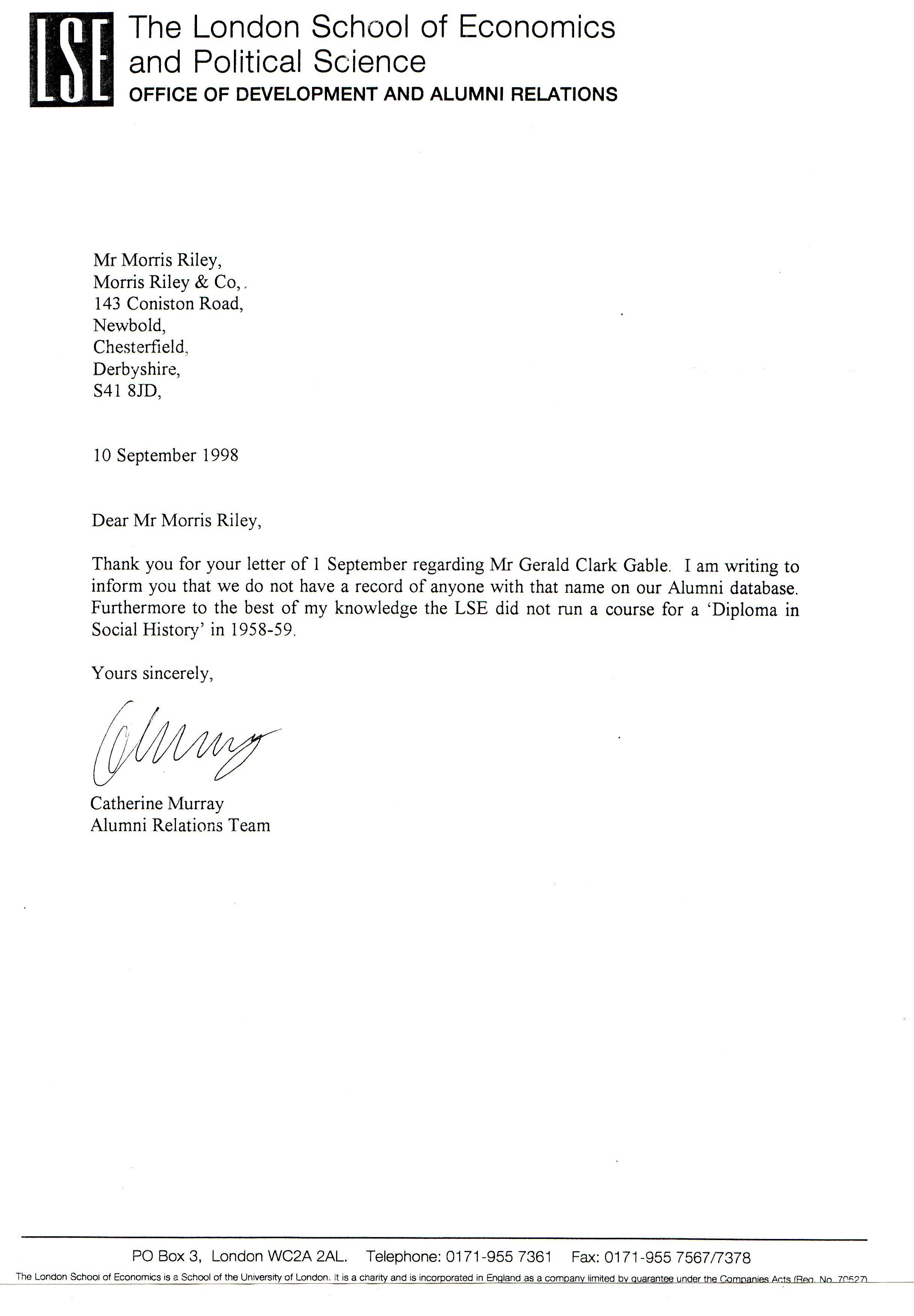 Lse Reference Letter Form